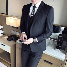 (jacket + waistcoat trousers) 2018 new fashion groom wedding dress suit/mens casual business three-piece suit jacket trousers