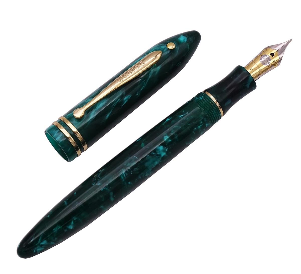 Wing Sung 626 Wingsung Celluloid Classic Fountain Pen Little God Dot Resin Green Iridium Fine 0