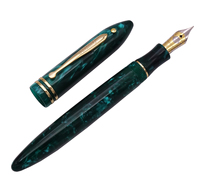 Wing Sung 626 Wingsung Celluloid Classic Fountain Pen Little God Dot Resin Green Iridium Fine 0.5mm Writing Gift Office Ink Pen