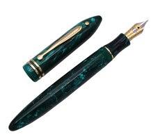Wing Sung 626 Wingsung pluma estilográfica clásica, celuloide, punto de Little God, resina verde, iridio fino, 0,5mm, regalo de escritura, bolígrafo de tinta de oficina