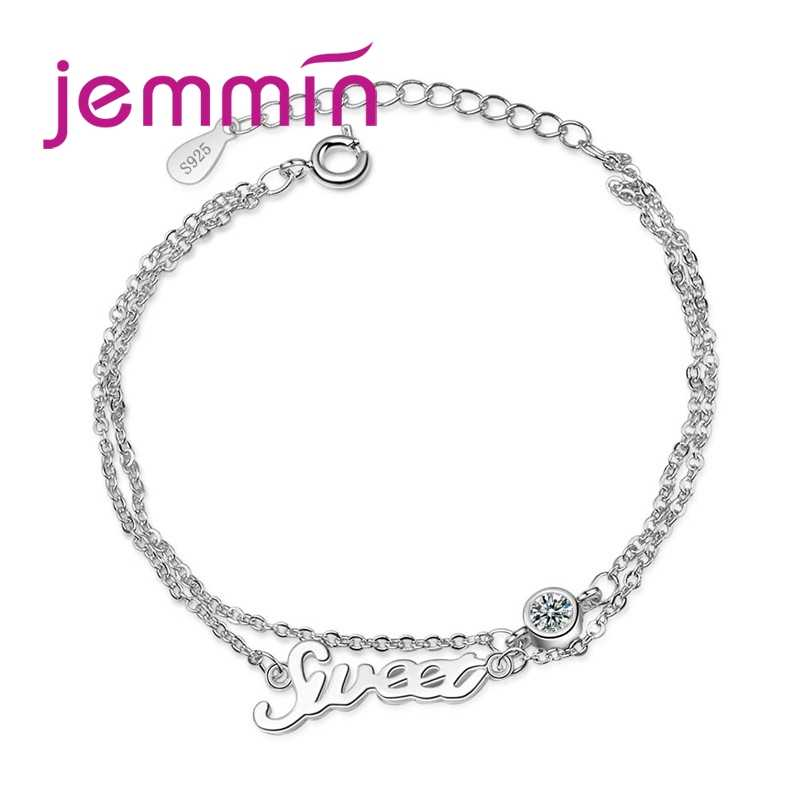 New Personality Customized 925 Sterling Silver Double Layer Bracelet For Women Girl Trendy Gift Letters Jewelry