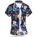 Más Tamaño 6XL Alta Calidad Para Hombre Camisa de La Flor 2016 Del Verano Camisa de Manga Corta masculina de Algodón Mercerizado Informal Slim Fit Camisas hombres