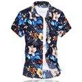 Plus Size 6XL Dos Homens de Alta Qualidade Camisa Da Flor do Verão 2016 masculino de Manga Curta Camisa de Algodão Mercerizado Ocasional Slim Fit Camisas homens