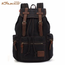 Kaukko Men's Vintage Canvas Leather Backpacks with Drawstring Women Travel Bag Large Capacity Computer Laptop Top School Bags
