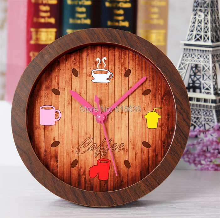 Coffee Time Retro Alarm Clock Wooden Watch Silent Table Bell Moder Classic China Mainland