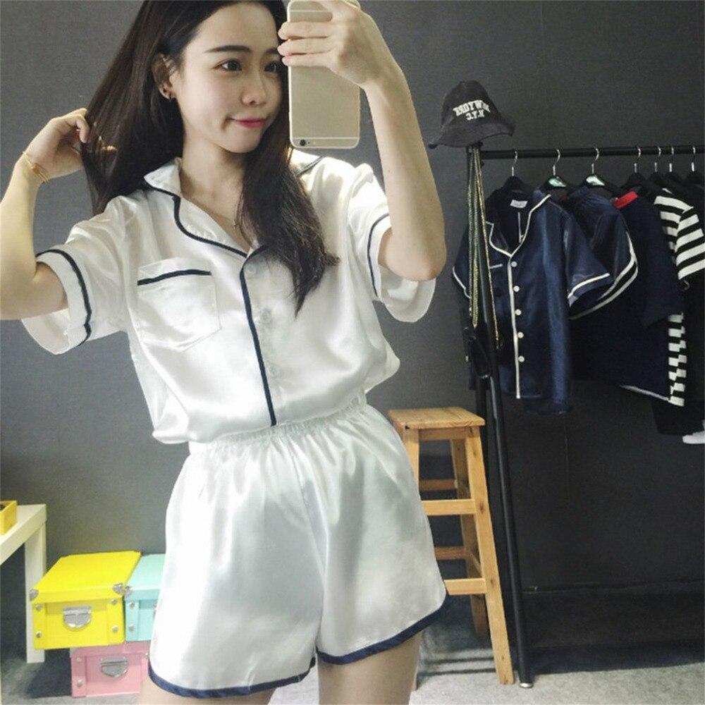 Women Sleepwear 2PCS/  SET   Simple Design Comfortable Women Silk Summer Nightwear   Pajamas     Sets   Short Sleeve V Neck Tops+Short Pants