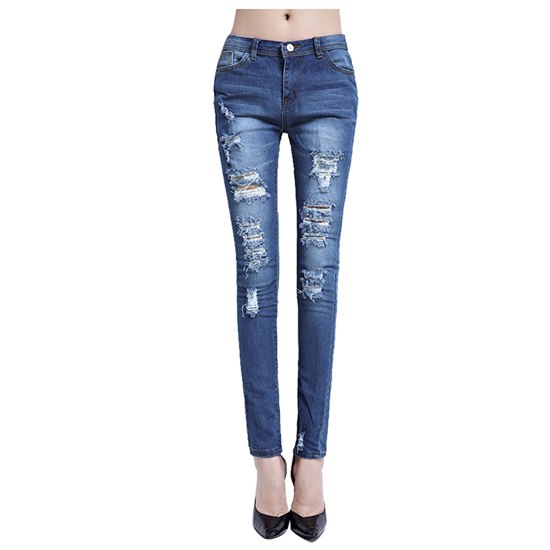 MYPF Woman s Fashion Cotton Denim Pants Stretch Womens Bleach Ripped Skinny Jeans Blue S 2XL