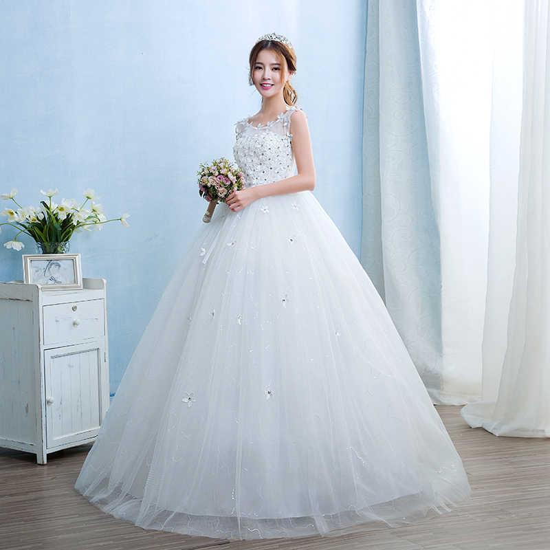 ... Free Shipping Vestidos De Novia Real Photo Cheap White Lace with  Flowers Wedding Dress O- ... 09085c708f5f