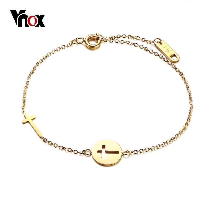 Vnox Double Croix Bracelet Charme Bijoux pour Femmes Gold Tone Acier Inoxydable Pulseras Mujer Réglable Cadeau D'anniversaire