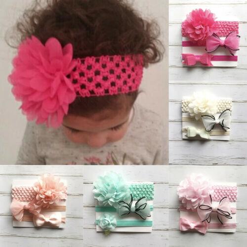 3pcs//set Baby Girl Cute Bow Headband Newborn Hair Band Headdress Headwear d