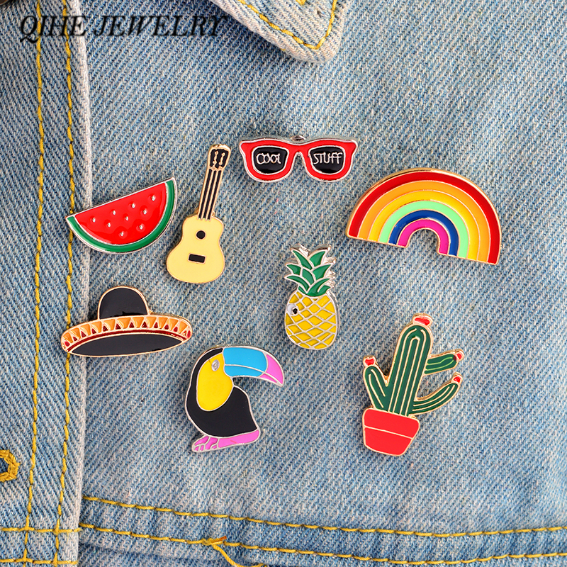 QIHE JEWELRY Pins and brooches Southwest Cowboy Guitar Mexican cactus Pineapple Watermelon Sunglasses Rainbow Enamel pins Badges