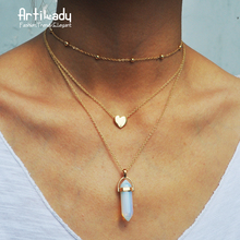 Artilady gold color 3 layer opal pink stone necklace heart with multi stone necklaces for women jewelry gift