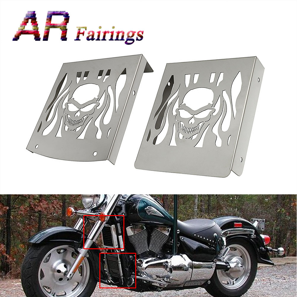 2 Piece Motorcycle Radiator Battery Grille Chrome Skull Flame Cover Stainless Steel Set For <font><b>SUZUKI</b></font> <font><b>VL</b></font> <font><b>1500</b></font> LC VL1500LC Intruder image