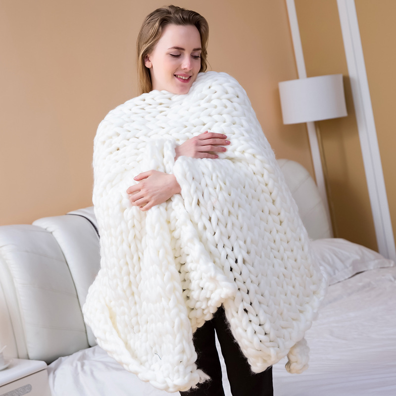14 Size Pure Color Soft Thick Yarn Knitted Play Mat Chunky Blanket Hand Weaving Photo Props Room Bed Sofa Decor Throw Blanket