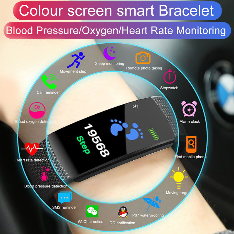 JRQITO Bluetooth Smart Sport Bracelet Wristband Blood Pressure Heart Rate Monitor Pedometer Waterproof Smart Band For Men Women