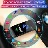 JRQITO Bluetooth Smart Sport Bracelet Wristband Blood Pressure Heart Rate Monitor Pedometer waterproof smart band For men women