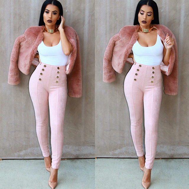 Trousers 2017 Vintage Slim Women Pants Sexy Casual Pants Feet Bodycon Tight Pencils Women's High Waist Pants 6173XIAOYU