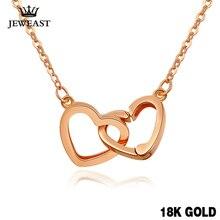 XXX czysty 18k złoty naszyjnik wisiorek dla kobiet serce urok łańcucha biżuterii elegancki romantyczny moda prawdziwe prawdziwe stałe strony