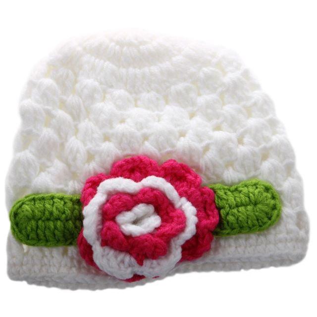 Flor del bebé del ganchillo Beanie sombrero hecho a mano invierno ...