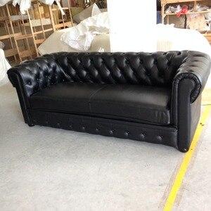 Image 3 - Jixing canapé en t classique en cuir véritable, 2 + 3 places, Style américain, noir, pour salon moderne, de haute qualité