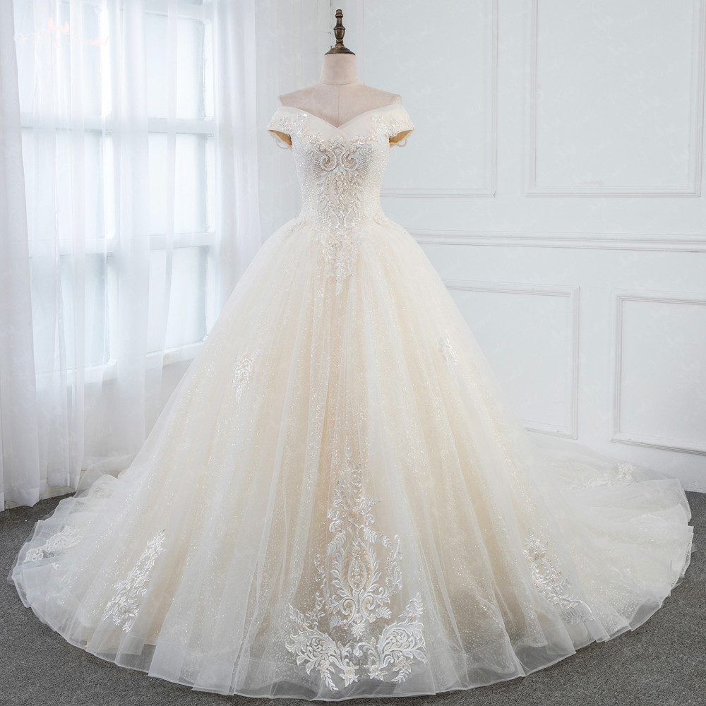 Glitter Wedding Gowns: LZ252 Yiai Real Picture Beading Wedding Dress Glitter