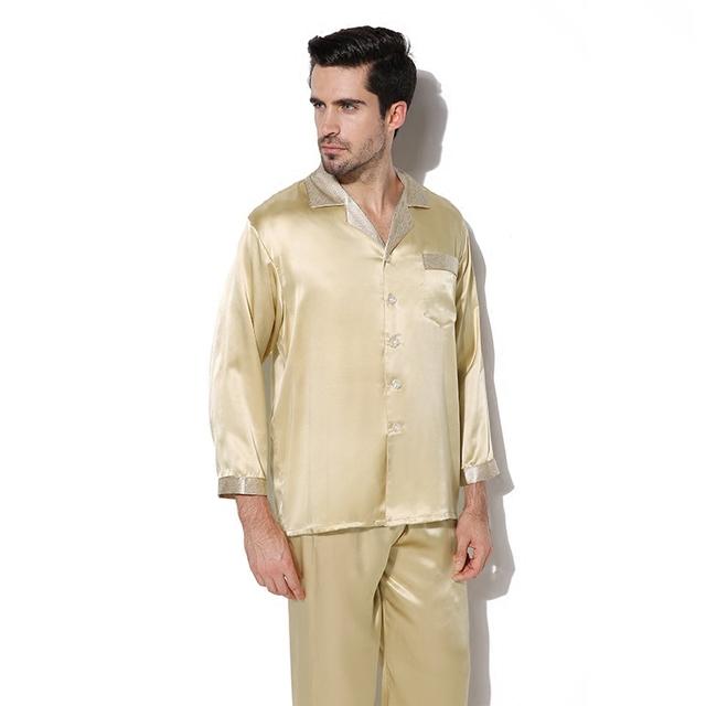 Masculina de lujo ropa de Dormir de Manga Larga de Seda 100% Hombres Pantalones de Otoño de Los Hombres de Seda Pijamas Pijamas Pijama Conjunto CMR16070