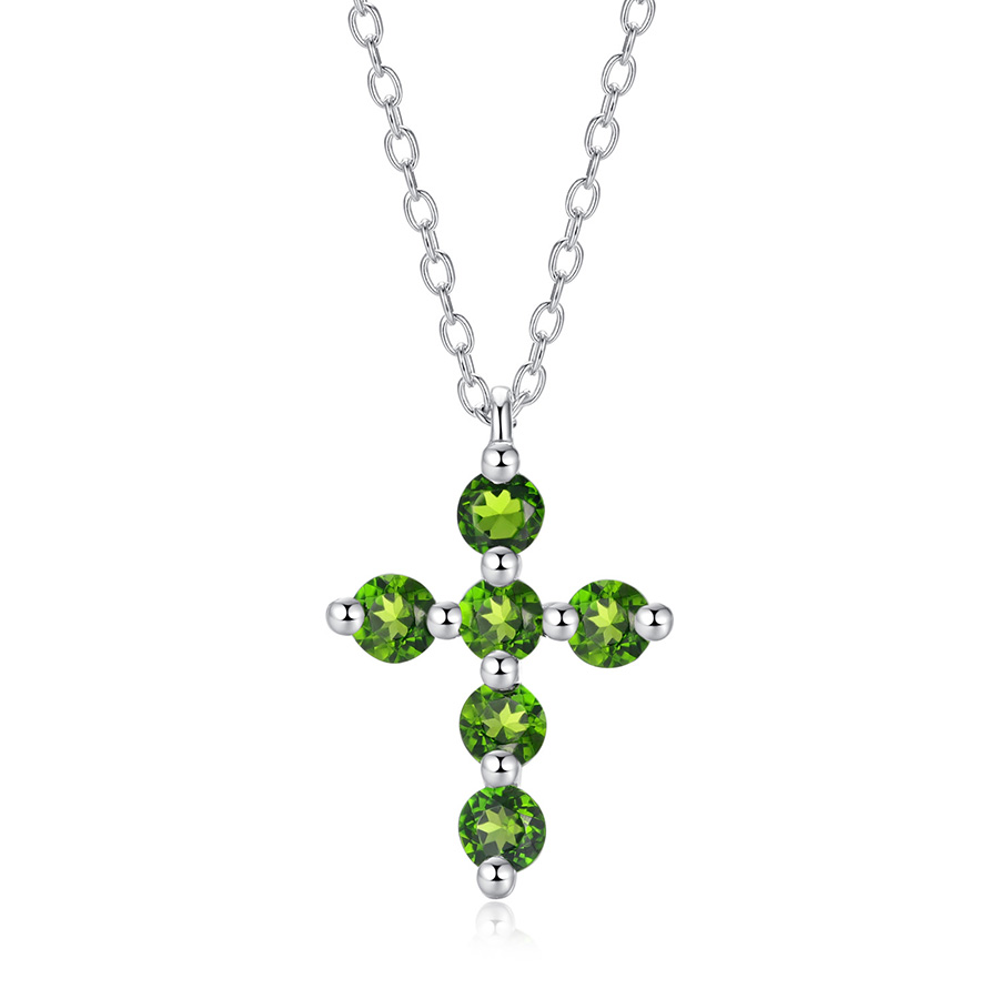 090506628d2b2 PJC Natural Gemstone Cross Necklace Created 0.74cts Round Shape Chrome  Diopside 925 Sterling Silver For Women Jewelry