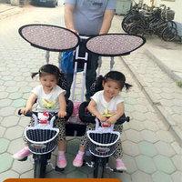 Panda Multifunctionele lucht wiel tweeling pedaal tandem trike, verwijderbare duwstang, baby kinderwagen voor twins, twins fiets