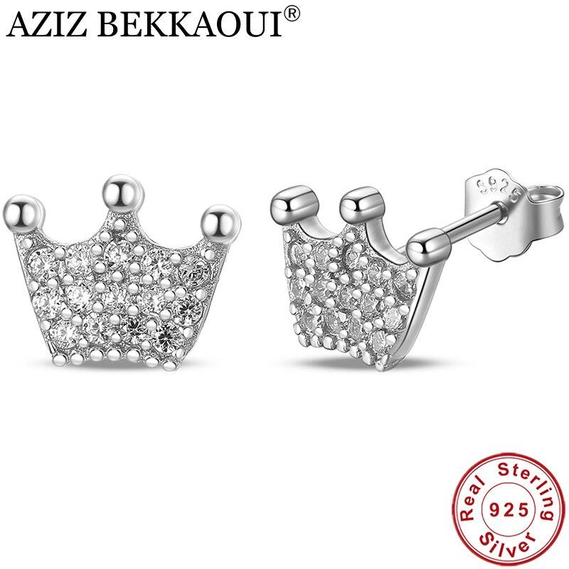AZIZ BEKKAOUI High Quality 100% 925 Sterling Silver Princess Crown Clear CZ Stud Earrings For Women Fashion Jewelry Gift