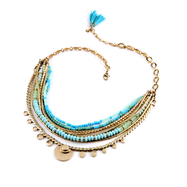 Removable Chain 2015 Top Statement Collar Accessory Acrylic Stone Blue Beaded Multichain Necklace Friendship Jewelry