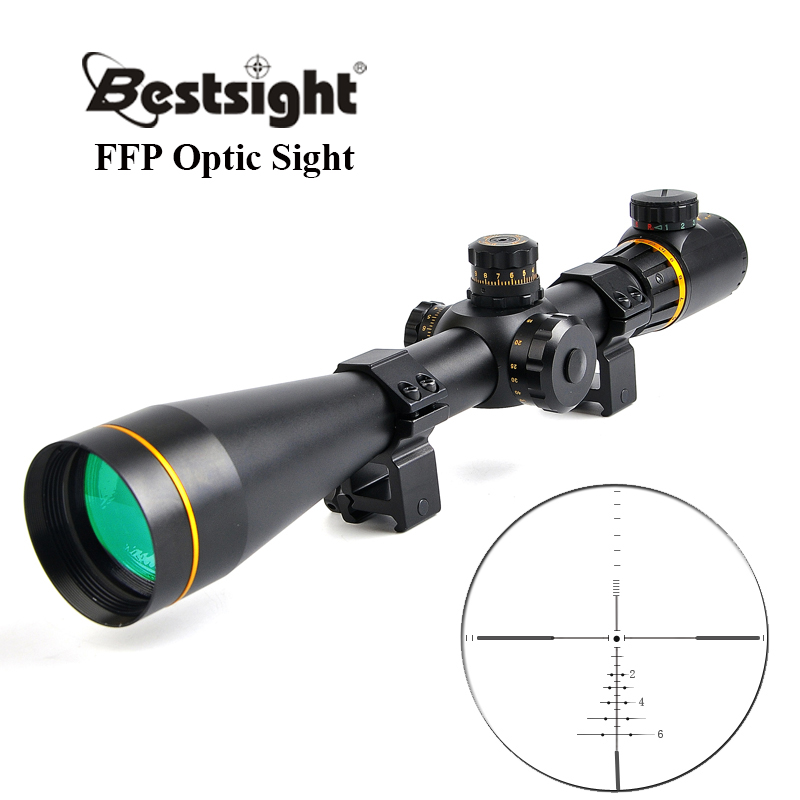 Bestsight 5-15X50 FFP doré optique lunette de visée latérale parallaxe tactique chasse portées portée de fusil montures pour fusil de Sniper Airsoft