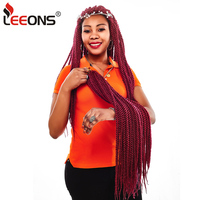 Leeons Ombre Senegalese Twist Braiding Hair 22Inch Crochet Braids 12Strand Synthetic Braiding Hair Extensions With Crochet