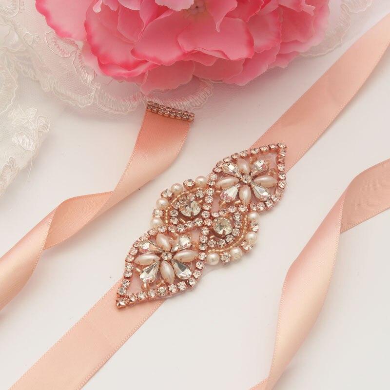 MissRDress Elegant Wedding Belt Rose Gold Crystal Bridal Sash Rhinestones  Pearls Bridal Belt For Women Evening 929134f010eb