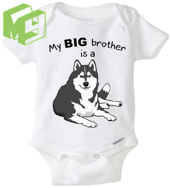 07cee0c83a6e My Big sister brother friend is a Husky dog baby personal sleepsuit ...