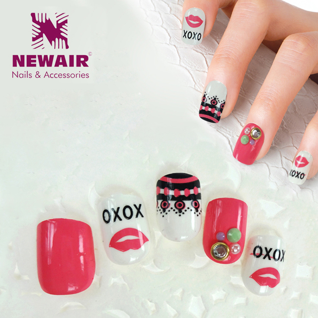 Beauty 24 pcs Cartoon Press on Fake Nails With Designs Sweet Lip ...