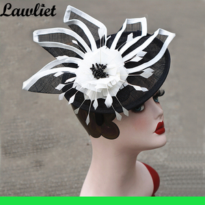 Image 5 - New Collection Fascinators Hats Sinamay Feather Netting Hats for Womens Kentucky Derby Wedding Event Cocktail Headband 1pcs