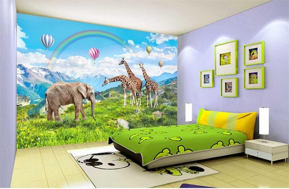 Custom mural wallpaper kids room 3d photo wallpaper rainbow giraffe hill 3d photo painting background wall non-woven wallpaper Обои
