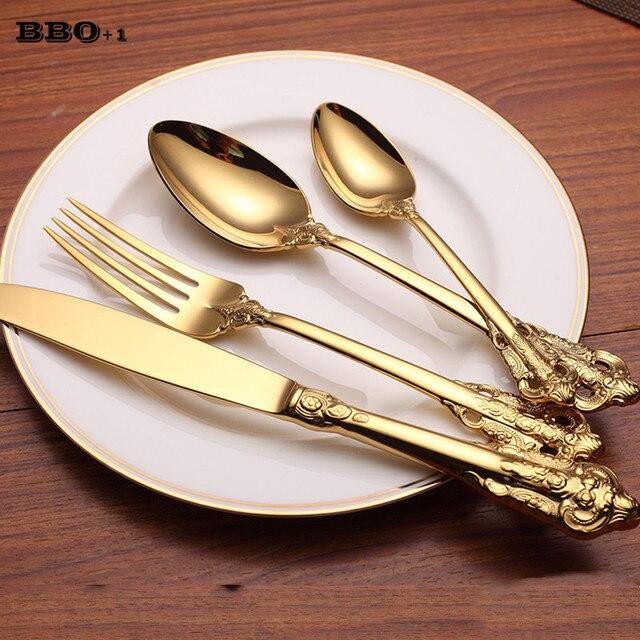 3e75ee1b16b 4 pcs Luxo Ouro Conjunto de Talheres Bife Faca de Mesa Garfo Dpoon Colheres  De Chá