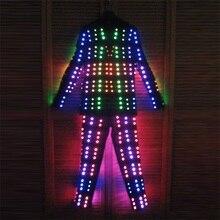 Лидер продаж красочные led костюм одежда праздничная Вечеринка Световой светящийся Костюмы сцены Костюмы робот костюм