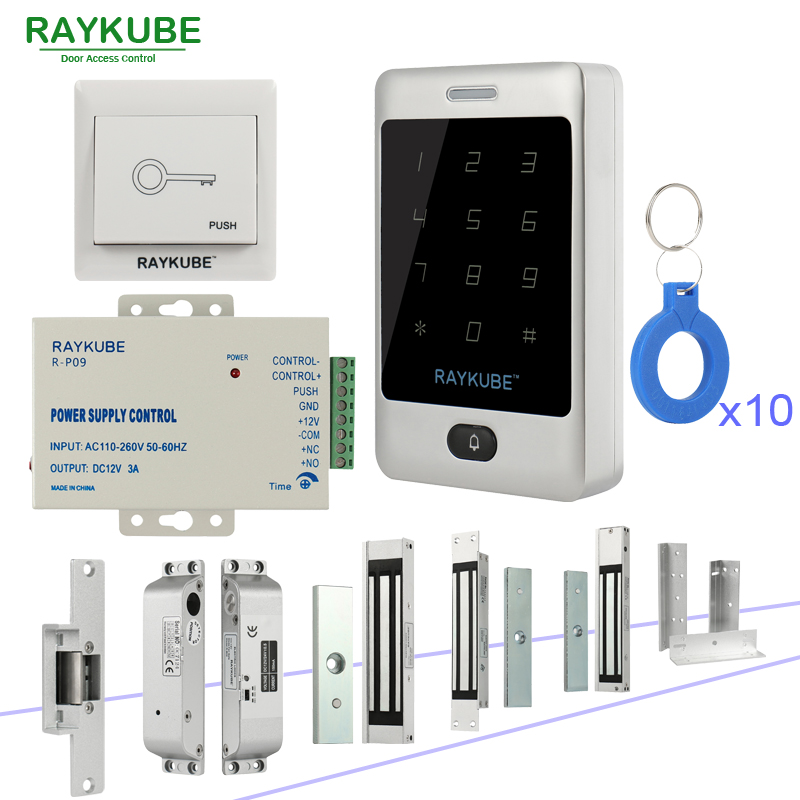 RAYKUBE Door Access Control Kit System With Metal Touch Keypad RFID Keys Electronic locks Kit Set high tech door locks apartment combination lock touch keypad for door access