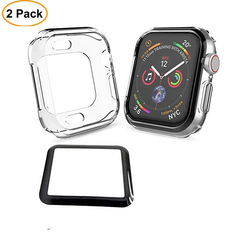 Watch Screen Protector For Apple Watch Series 4 44mm 40mm Tempered Glass with TPU Protective Case For Iwatch 38mm 42mm case