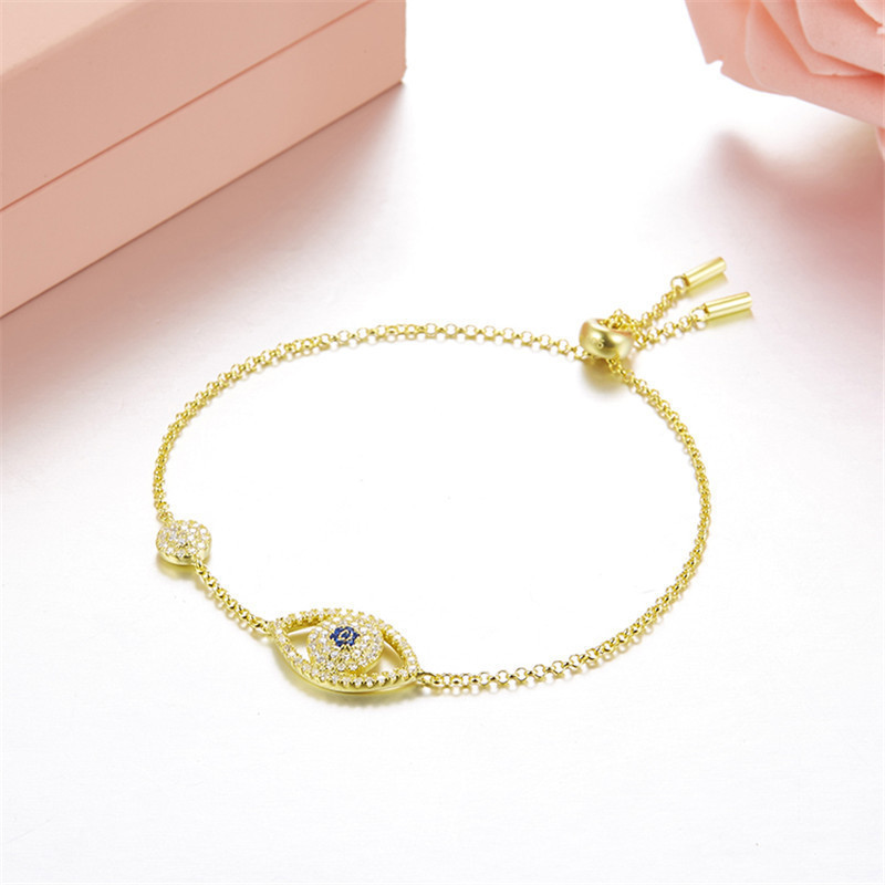 Fits  Monaco Jewelry with Ladies Jewelry Party Gift Charm 925 Sterling Silver Zircon Eye Bracelet Simple Fashion Trend