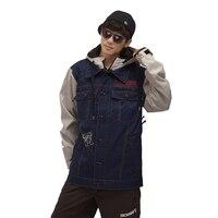 Зимняя куртка джинсовая Для мужчин лыжный костюм, куртка Женский легкий пуховик Утепленная одежда ветрозащитный большой Размеры Сноуборд