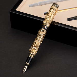 Image 2 - Pluma estilográfica dorada de 12K de dragón chino de alta calidad, pluma de tinta de 0,5mm, plumas de lujo de metal completo con caja de regalo 1050