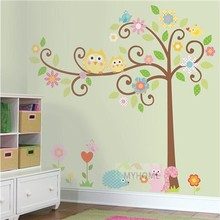 Removable and Waterproof Cartoon Owls Squirrel Tree Children Wall Stickers for Kids Rooms Nursery Decor