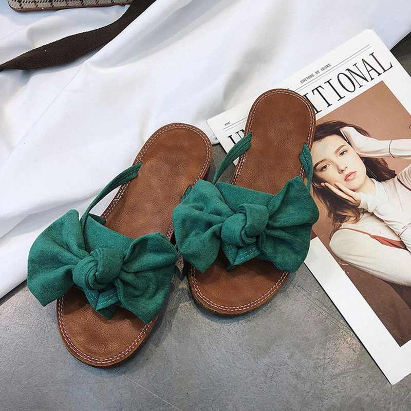 WENYUJH 2019 Women Bow Torridity Sandals Slipper Indoor Outdoor -flops Beach Shoes New Fashion Female Casual chanclas mujer