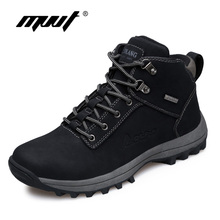 Бренд супер теплый Для мужчин сапоги зимние кожаные сапоги Водонепроницаемый резиновая Снегоступы в английском Ретро ботильоны для Для мужчин зимняя обувь