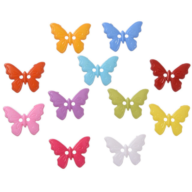 200Pcs 23*17mm 2 Holes Butterfly Shape Mixed Resin Buttons Decorative Sewing Buttons Scrapbooking Crafts Sewing Accessories