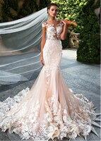 Блестящее Тюлевое Украшение Колье Свадебные платья 3D цветок с аппликацией и юбкой годе платья прозрачные лиф Свадебные платья