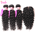 Human Hair Weave With Closure Water Wave With Closure Brazilian Hair Weave Bundle Water Wave Virgin Hair 3 Bundles With Closure